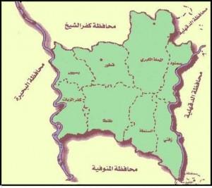 خريطة محافظة الغربية الادارية