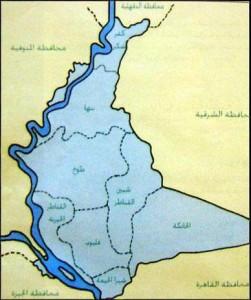 خريطة محافظة القليوبية الادارية