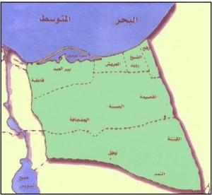 خريطة محافظة شمال سيناء الادارية